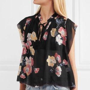 Ulla Johnson Saadi Black Floral Silk Blouse